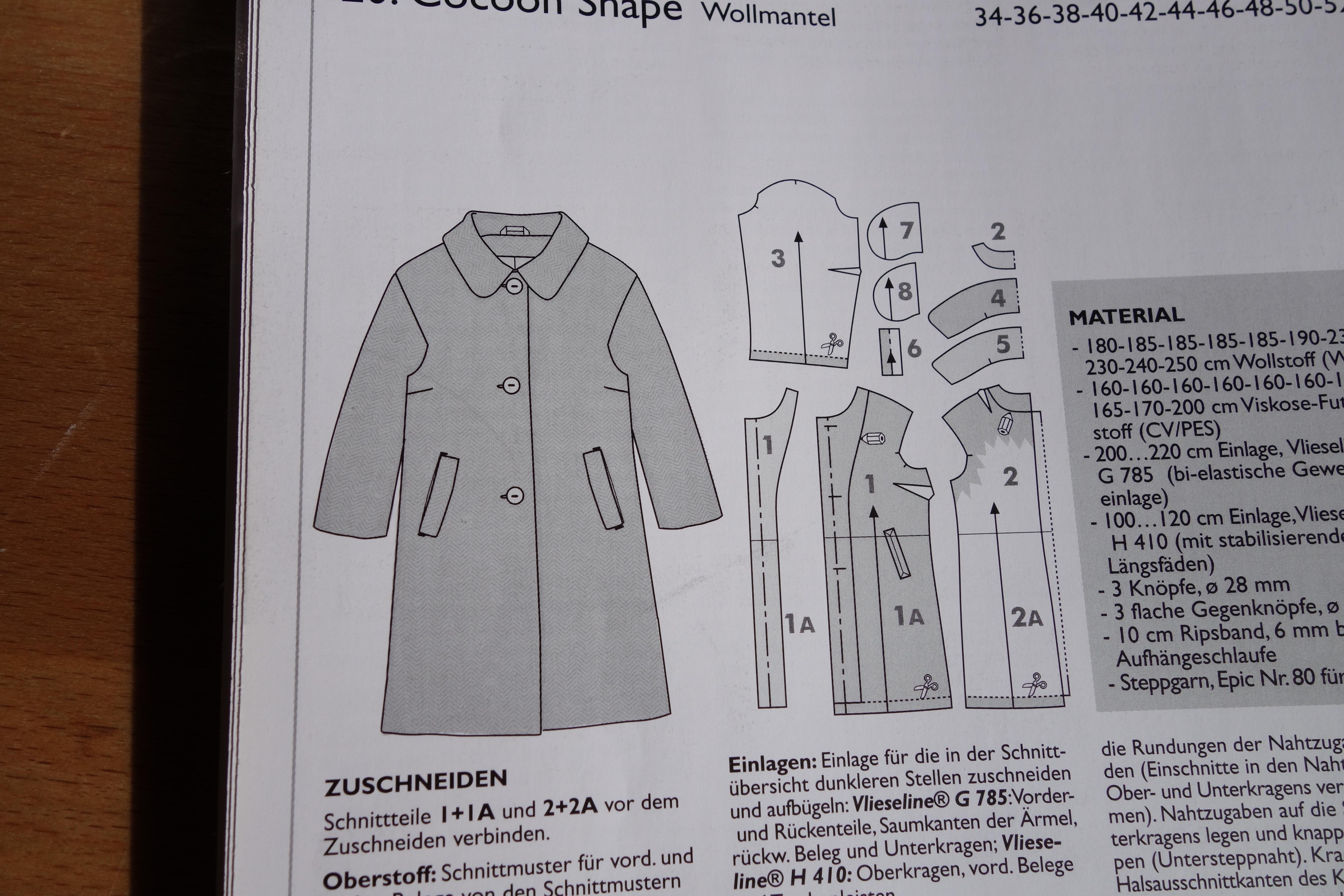 Technische Zeichnung Mantel Ottobre